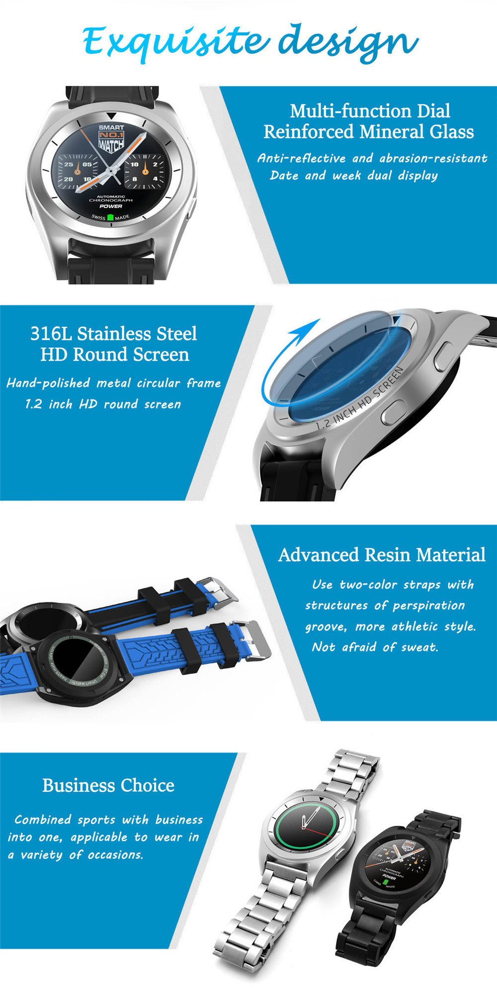New Design Luxury Bluetooth Smart Watch Heart Rate Monitor Sports Smartwatch Wristwatches for IPhone Samsung Huawei Xiaomi Sony