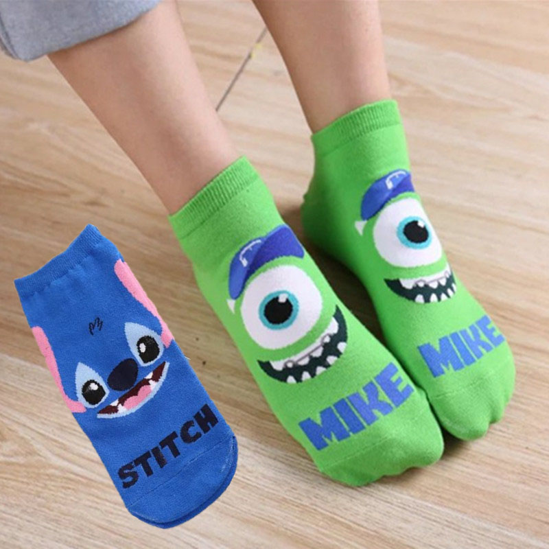 Liviixuan 1Pair Stitch Monster University Mike Pattern Ankle Sock Breathable Cartoon Cotton Socks Women Mens Casual Sports Sock