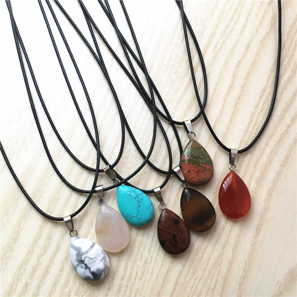 Super Deal Natural Stone Crystal Quartz Opal Water Drop Pendant & Necklace Leather Chains For Men Women Fashion Jewelry One 1Pcs