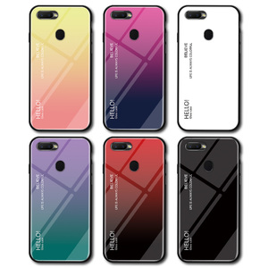 Image 5 - Voppton Gradient Tempered Glass Case For OPPO A7 AX7 Case Cover Silicone Frame Glass Hard Phone Cover For OPPO A5S A12 A31