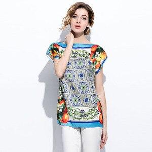 Image 5 - SEQINYY yaz üst turuncu meyve baskılı mavi porselen 2018 moda pist kısa kollu gevşek bluz