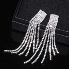 New Silver Color Rhinestone Crystal Long Tassel Earrings for Women Bridal  Drop Dangling Earrings Brincos Wedding 0960e67651c4