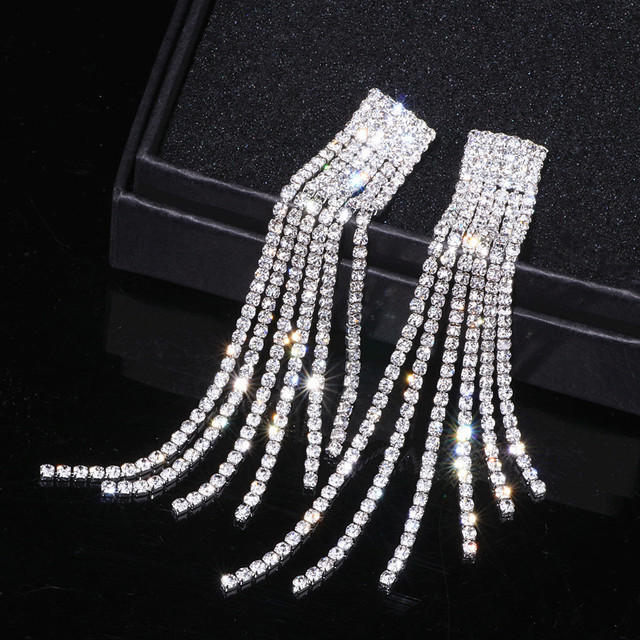 Crystal Long Tassel Earrings