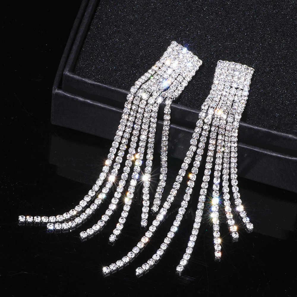 New Silver Color Rhinestone Crystal Long Tassel Earrings for Women Bridal  Drop Dangling Earrings Brincos Wedding 1175e75b2dac
