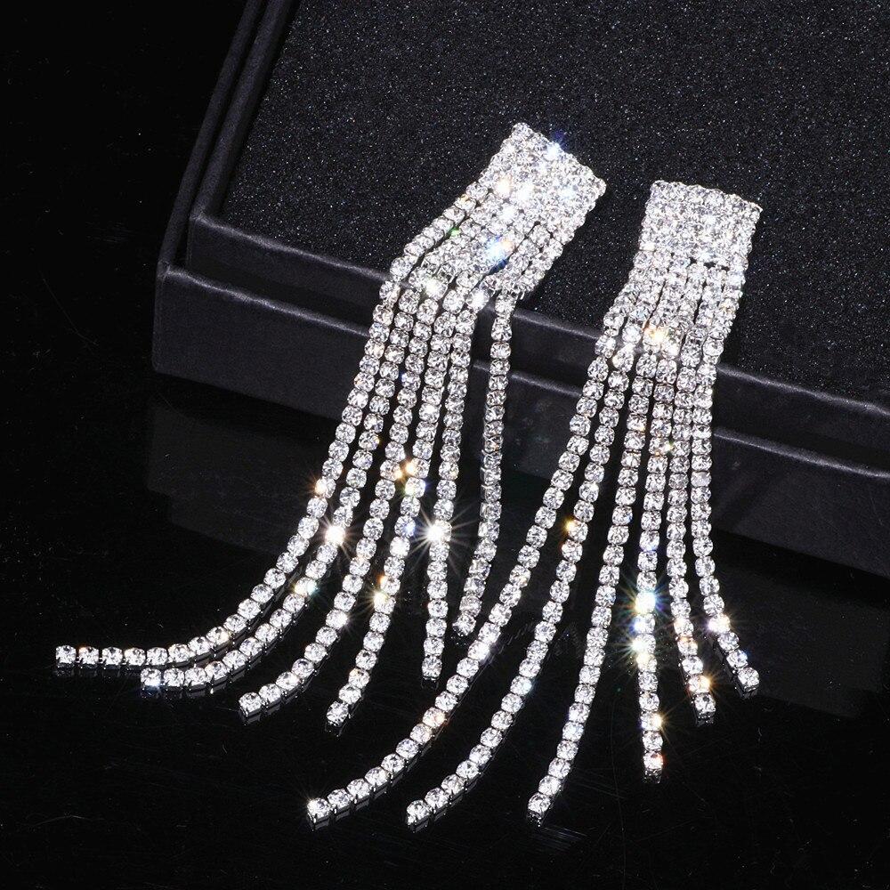 New Silver Color Rhinestone Crystal Long Tassel Earrings for Women Bridal Drop Dangling Earrings Brincos Wedding Jewelry WX006