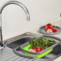 1 UNIDS De Silicona Plegable Colador colador Fregadero Drainager Agua Canasta De Almacenamiento Cesta de Frutas Vegetales Colador de Cocina Gadget