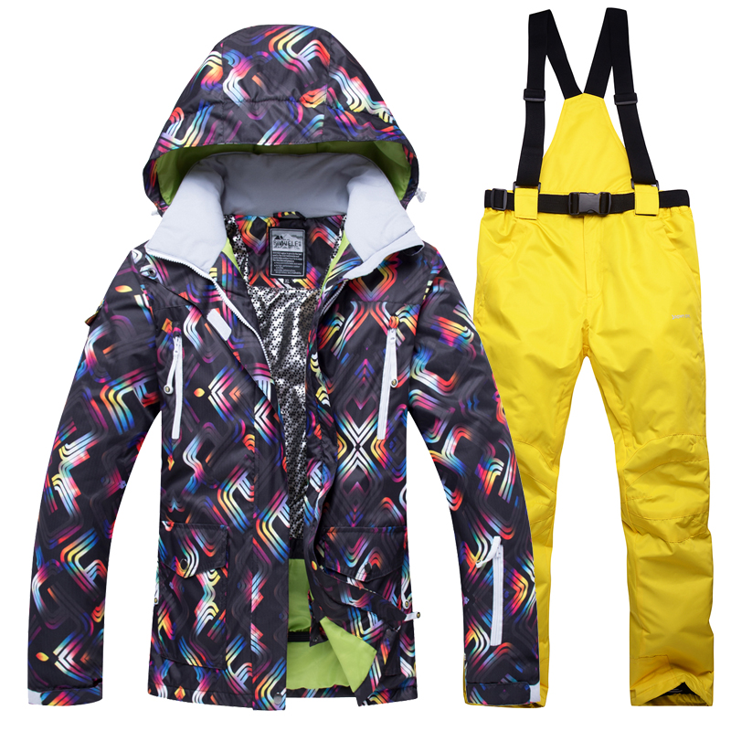 2018 New Winter Ski Jacket+Pants Women Snowboarding Suits Waterproof Breathable Ski Suit Female Outdoor climbing warm set new winter yoga suit five piece female ms breathable coat of cultivate one s morality pants sports suits running fitness