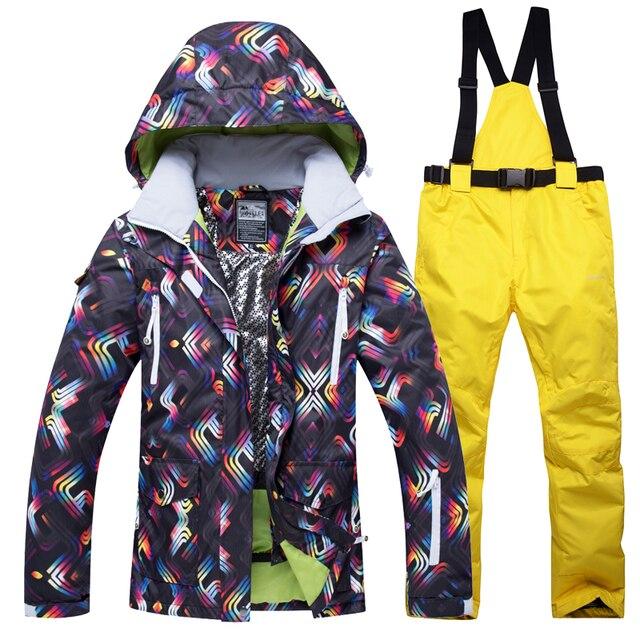 2018 новая зимняя Лыжная куртка + брюки Для женщин Сноубординг костюмы Водонепроницаемый дышащая лыжный костюм женский открытый восхождение теплый комплект