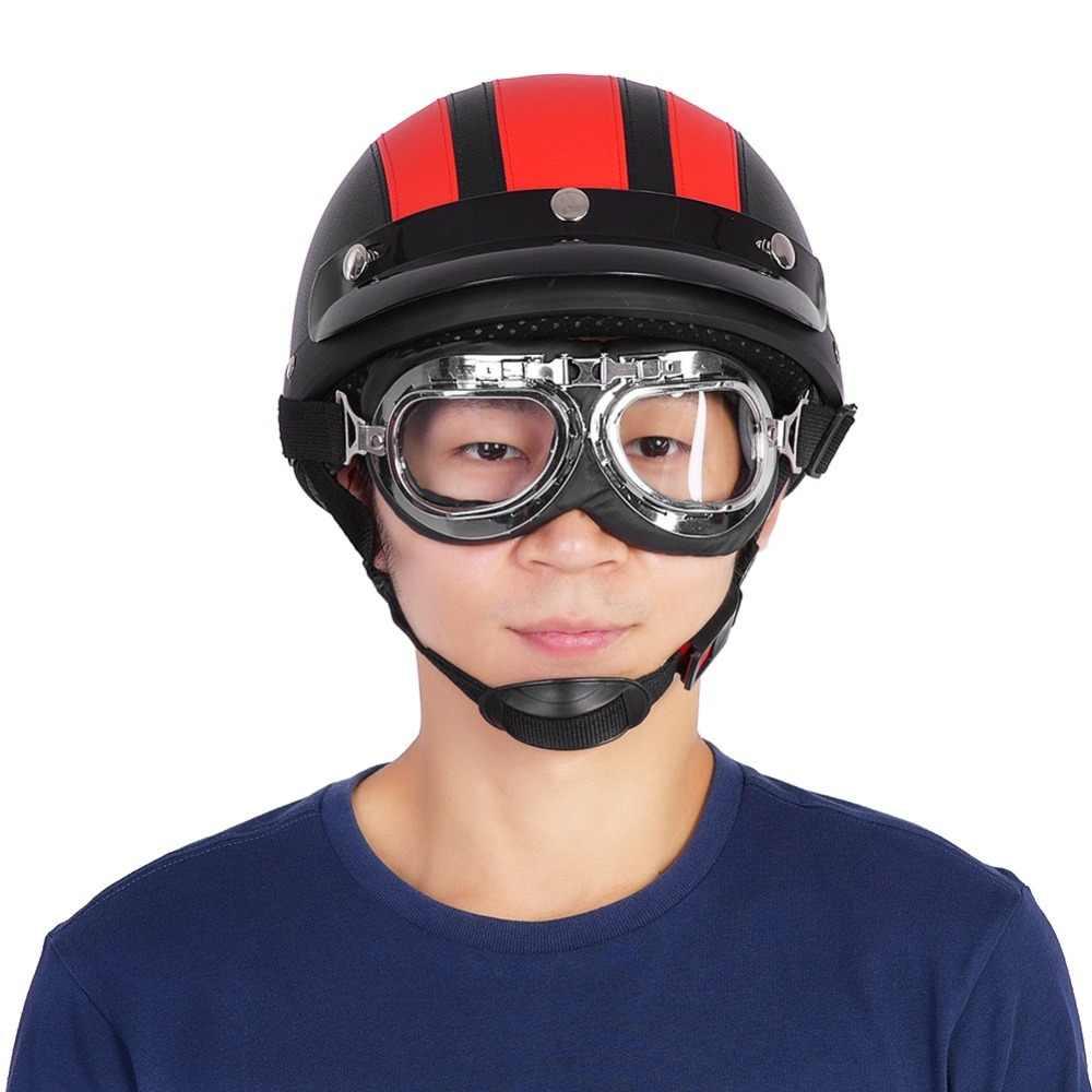 con visera Casco abierto de piel para motocicleta Estink 54-60 cm