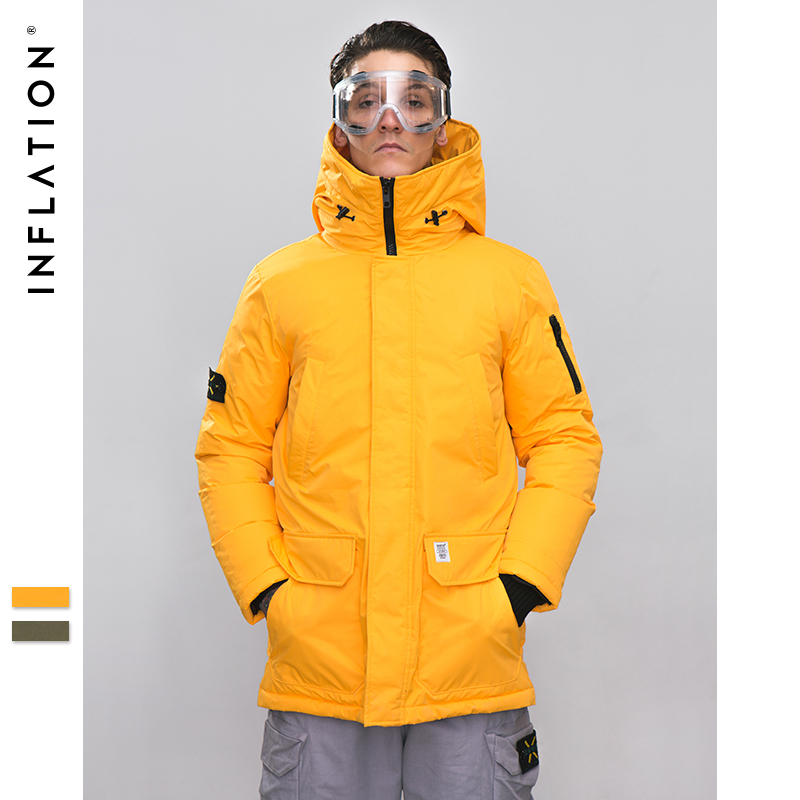 INFLATION Long Down Jacket Men Winter Coat Fashion Winter Warm White Duck Thick Down Jacket Hooded Winter Outerwear Jacket 8765W
