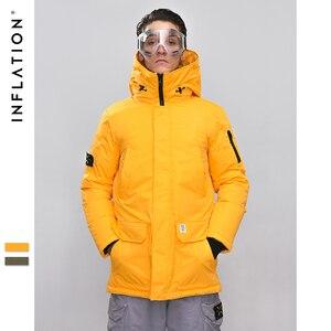 Image 1 - INFLATION longue doudoune hommes hiver manteau mode hiver chaud blanc canard épais doudoune à capuche vêtements de sortie dhiver veste 8765W