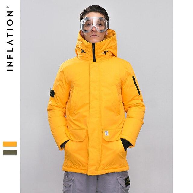 INFLATION longue doudoune hommes hiver manteau mode hiver chaud blanc canard épais doudoune à capuche vêtements de sortie dhiver veste 8765W