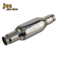 JZZ exhaust muffler car modified threaded inner tube enable more powerful engine for car chrome silver pipe silencer sound bomb