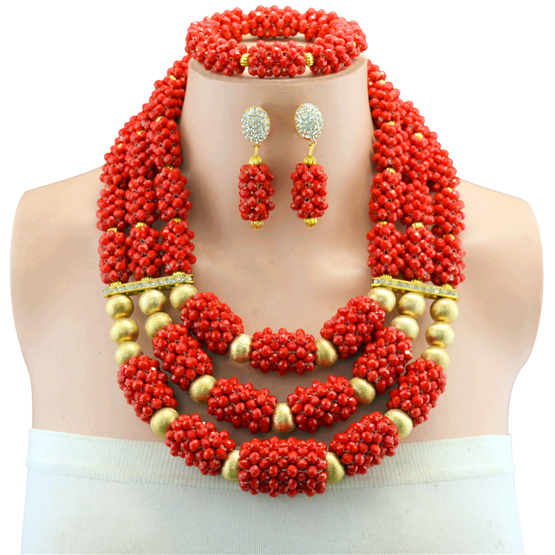 Nigerian Statement Necklace Costume Wedding African Beads Jewelry Set Red Crystal Beads Jewelry Set For Women hot nigerian wedding beads jewelry set womens red ball crystal beads necklace african wedding beads bridal jewelry set 2018