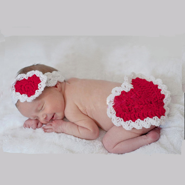 b5ce5a218 Newborn Baby Girl Valentine Day Red Heart Shape Photography Props Outfits  Neonate Little Baby Photo Shoot