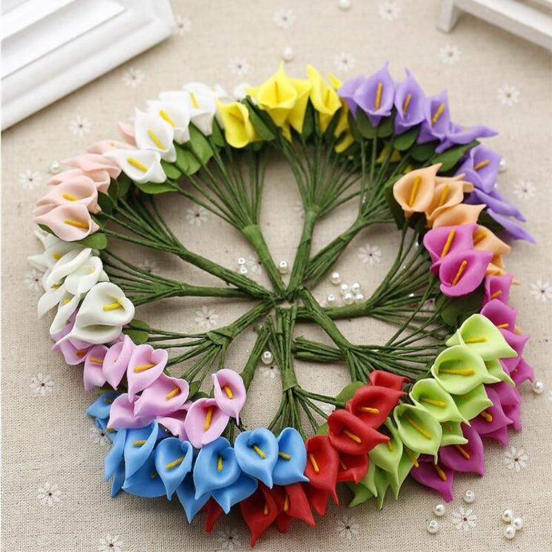 12 шт./лот декоративные цветы Калла искусственный цветок Лилия PE украшения дома вечерние Букеты Свадебные тычинки поддельные цветы