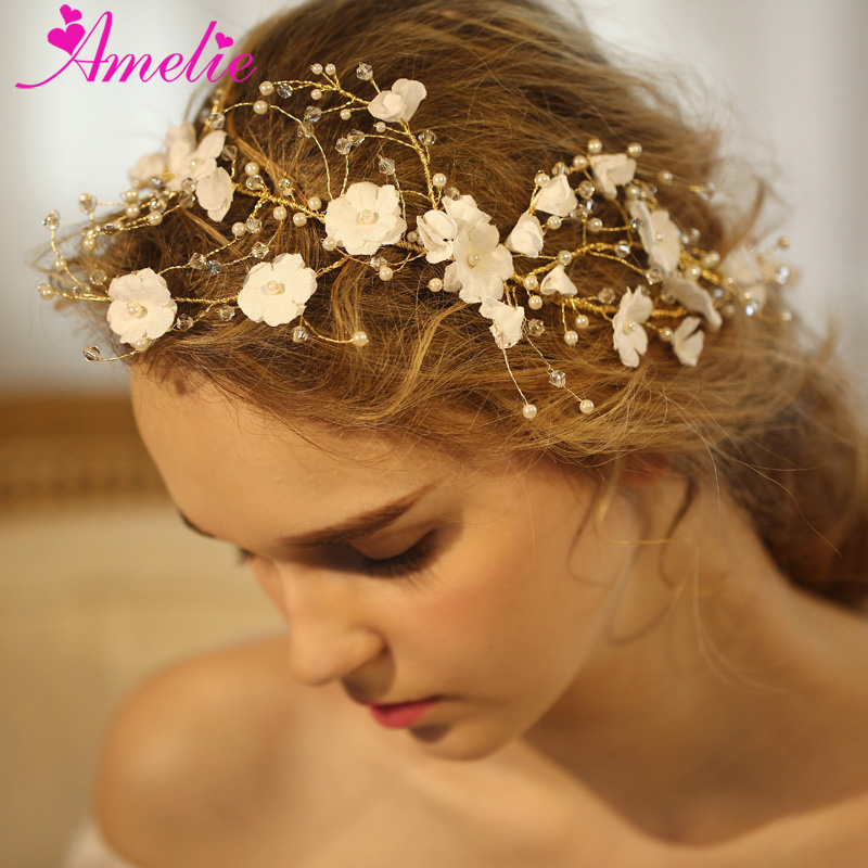 Victorian Beach Wedding Handmade Wired Rhinestone Branch Blossom Girls Headbands Fairy Halo Wedding Jewelry Prom Dress Hair Vine