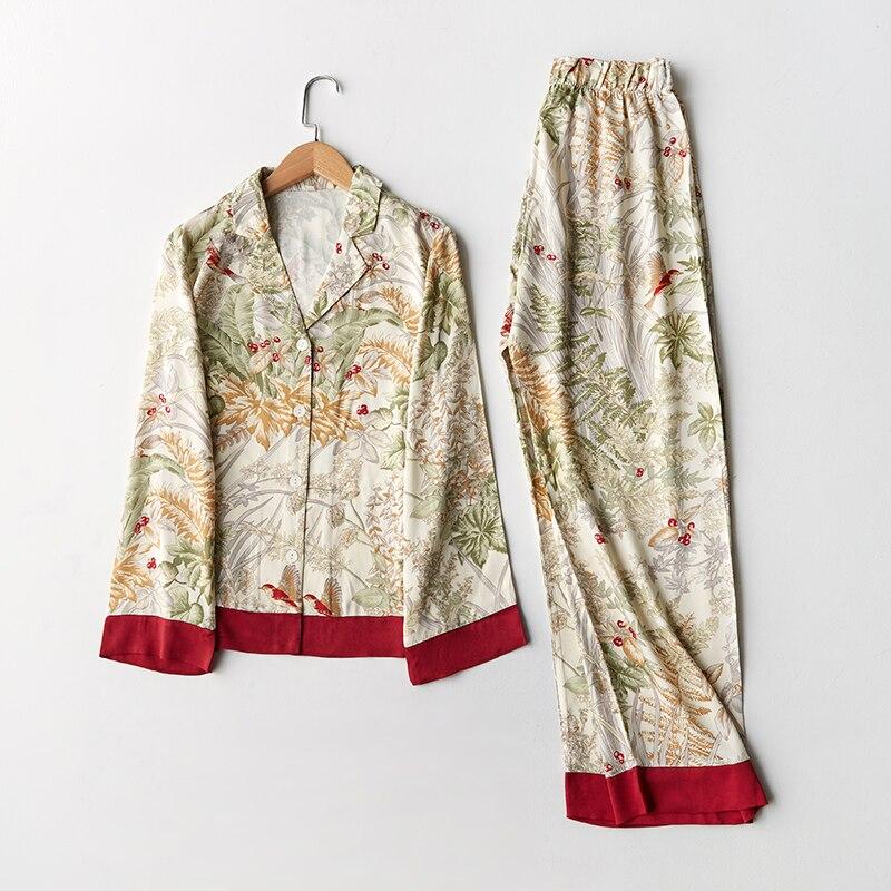 Spring New Casual Long Sleeve Satin   Pajama     Set   Green Grass Printing Sleepwear Loungewear Women Turn-down Collar Pijama Mujer