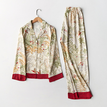 Spring New Casual Long Sleeve Satin Pajama Set Green Grass P