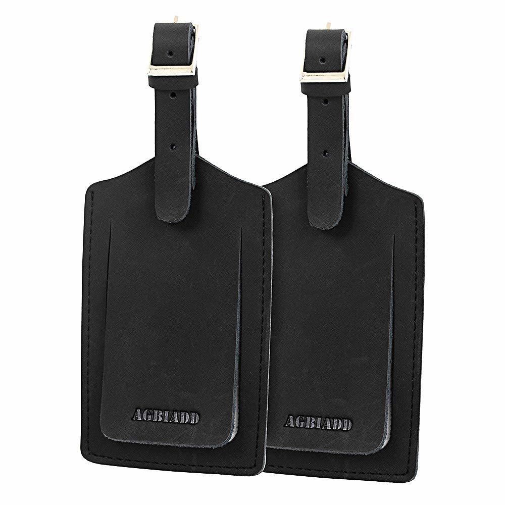 Genuine Leather Luggage Tags & Bag Tags 2 Pieces Set ( Black Brown Khaki) Luggage Tags Travel Accessories