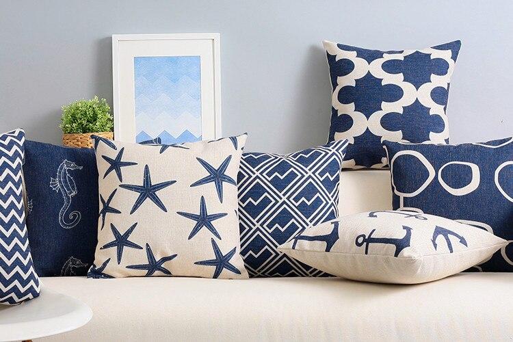 Cuscini Per Divano Blu.Lino Pillow Case Blu Navy Chervon Starfish Anchor Mediterraneo