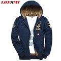 LONMMY M-3XL 2016 jaqueta de Inverno masculino de Veludo Grosso Ar force 1 casacos hoodies dos homens e camisolas fatos de treino Do Exército para homens