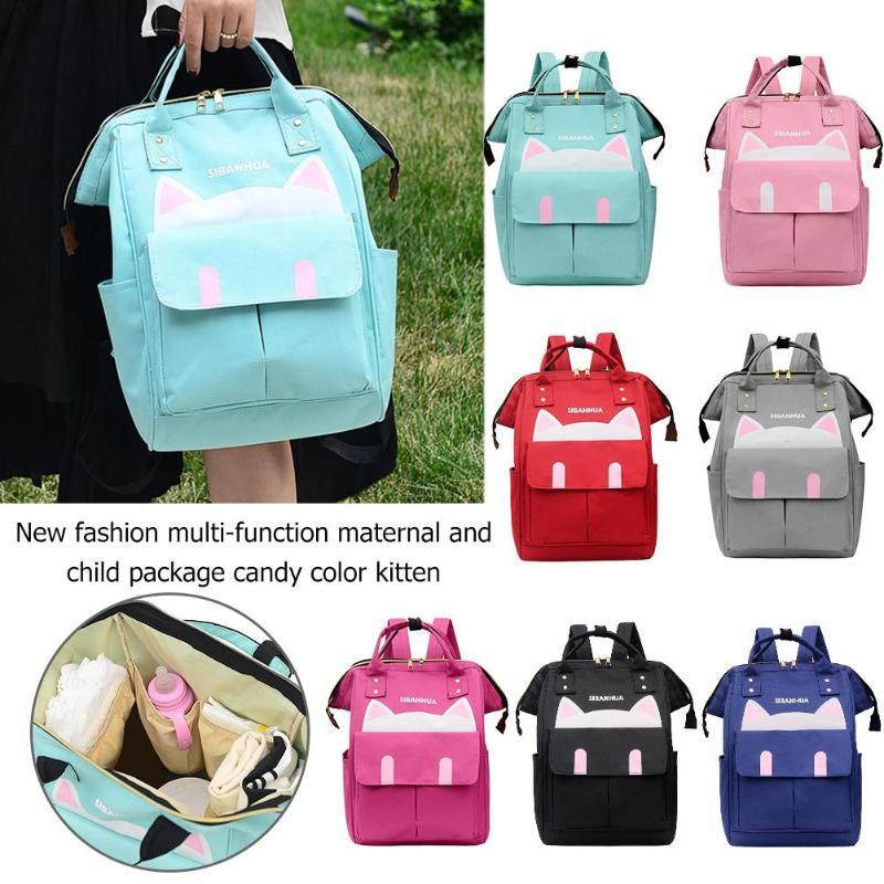 Cute Cat Print Mommy Travel Backpacks Large Capacity Nylon Maternity Nappy Top-handle Bags Baby Care Nursing Diaper Packs