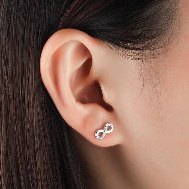 925 Sterling Silver Infinity Love Earrings for Women Number 8 Shape Cubic Zirconia Stud Earrings Anniversary Gift (Lam Hub Fong) 1