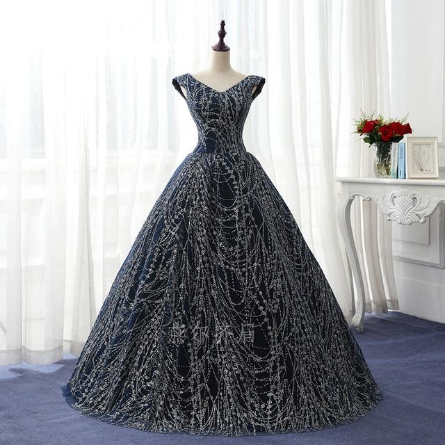 adad21081561 100% vrai bleu marine plein argent paillettes cosplay bal studio princesse  robe de bal robe