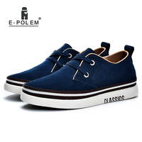 Genuine Suede Leather Skate Shoes Men Casual Shoes Invisibility 6cm Height Increases Male Lace Up Winter