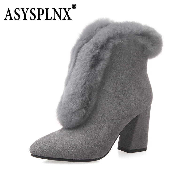 ASYSYLNX brand 2018 classic fashion women's boots black gray yellow cashmere leather leather women's ankle boots A009 247 classic leather