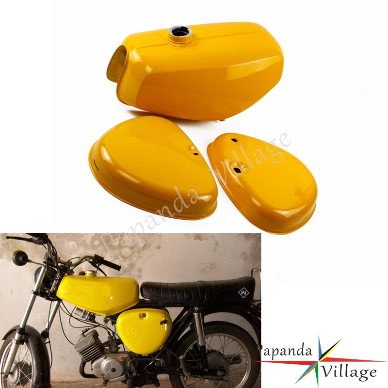Papanda Motorcycles Steel Orange Green Yellow Blue Gas Tank Fuel + 2 Side Cover Protection for Simson S50 S51 S70