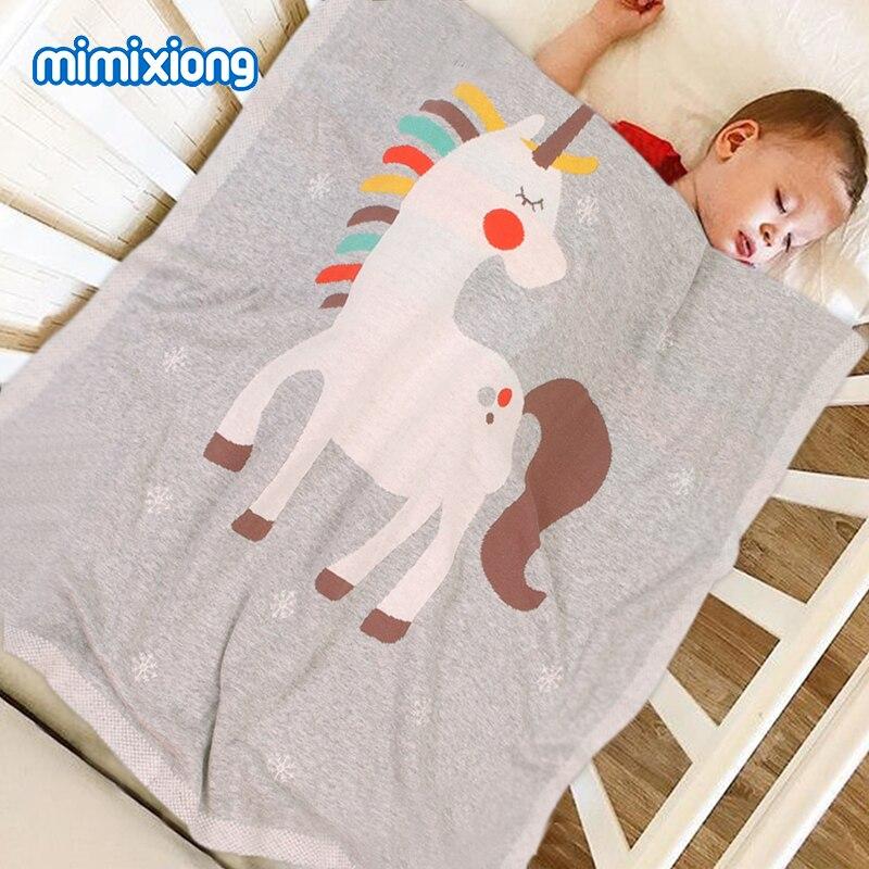 Baby Blankets Knitted Funny Unicorn Newborn Milestone Swaddle Sleepsack 100*80cm Children Playing Mat Toddler Stroller Bed Cover