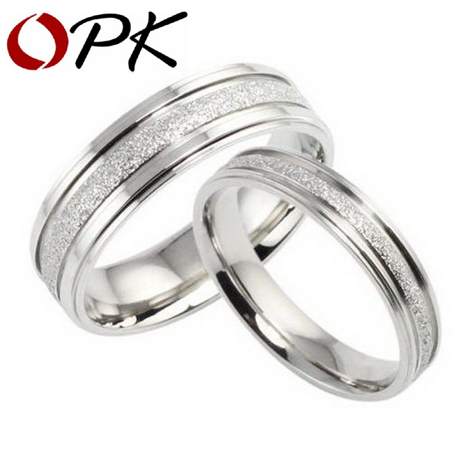 OPK JEWELRY Gift Box Packing NEW STYLE Titanium steel ring Couple Wedding Bands Shine 094