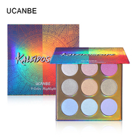 UCANBE калейдоскоп пудра 9 Цвет Хайлайтер для макияжа Палитра голографическая поляризационные Shimmer освещающей комплект свечения