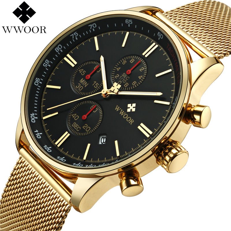 WWOOR Top Brand Luxury Mens Watches Business Chronograph Waterproof Gold Stainless Steel Sport Men Quartz Wrist Watch Male Clock gold plated hdmi to dvi 24 1 pin cable cord dvi male adapter 1080p dvi cable adaptor for hdtv ps3 xbox