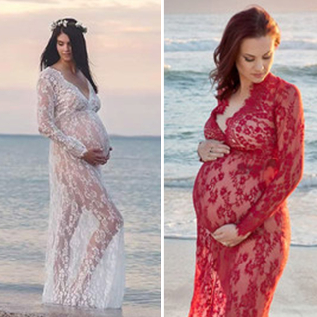 72556d5aa18eb US $10.16 39% OFF Sexy Maternity Photography Props Maxi Maternity Gown Lace  Maternity Dress Fancy Shooting Photo Summer Pregnant Dress Plus-in Dresses  ...