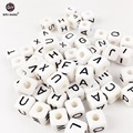 Acrylic Letters 200PC Children early education Different Alphabet White size of 1cm Beads  Handmade DIY bracelet Plastic Beads