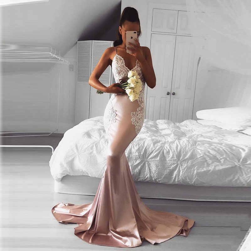 Nuovo arrivo di promenade del partito dei vestiti da sera vestido de noiva sereia abito robe de soiree elegante abito di lusso sexy sirena Con Scollo A V del merletto