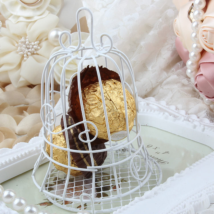 European romantic Bridal Wedding and party creative personality iron white candy box iron bell birdcage gift box candy boxes (8)