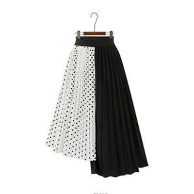 Европейский стиль летние женские юбки плюс размер 5XL плиссированные в горошек Лоскутные женские юбки шифоновые Асимметричные женские рубашки Новые - Цвет: White