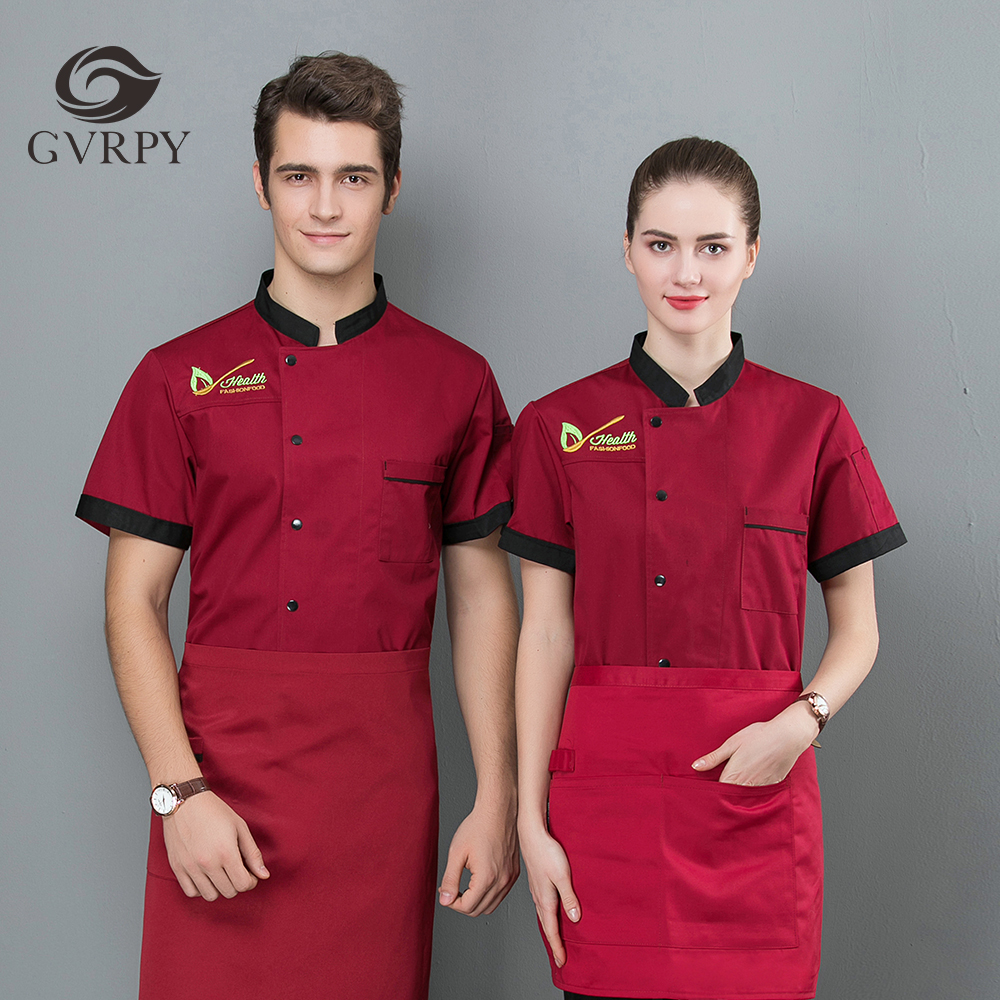 2019 New Chef Jacket Summer Short Sleeve Uniform Bakery Hotel Bakery Cake Coffee Food Service Restaurant Kitchen Work Uniform