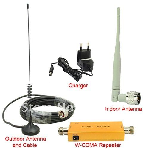 Up To 500 Square Meter WCDMA 2100MHz 3G RF Repeater Mobile Phone Signal Booster Amplifier Repeater+Outdoor Antenna With10M Cable