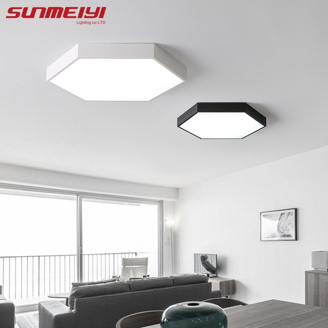 Simple Geometric Led Ceiling Lamp Kitchen Bedroom Modern Black White Lamparas Techo Restaurant House Lighting