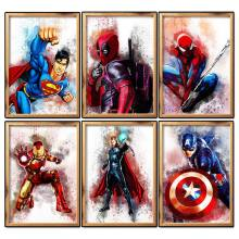 5D DIY Diamond Cross Stitch Superhero Diamond Bordir Kapten Superman Diamond Mosaik Gambar Menjahit(China)