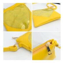 Cute Transparent Heart Women Messenger Bag Kawaii Teenage Girls Single Shoulder Bags High Quality PU Leather Ita Bag Women Bolsa