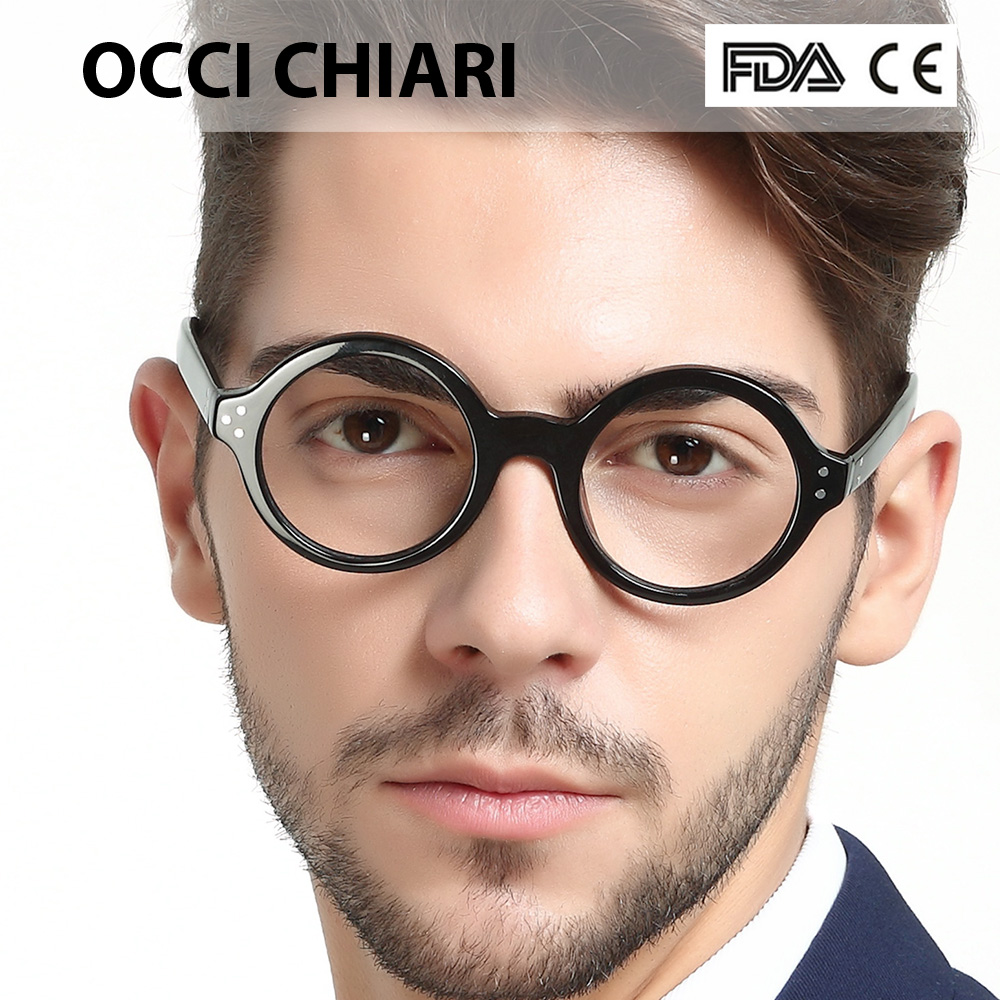 Image 1 - OCCI CHIARI Retro Round Frame Brand Design Prescription Nerd Lens Medical Optical Glasses Frame black for Men Wome CAPPAI-in Men's Eyewear Frames from Apparel Accessories