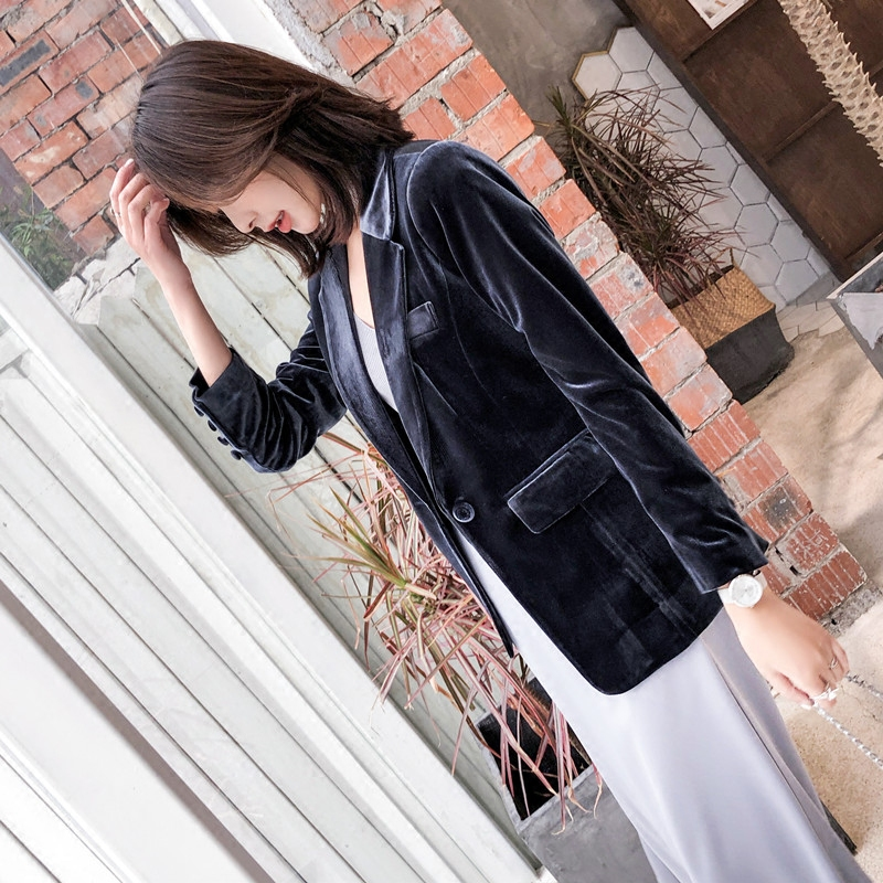 Printemps Costume Section Mince Velours Automne Veste De Sauvage Femme 1 Blazer D'or Tempérament Longue Long Femelle rrXI7