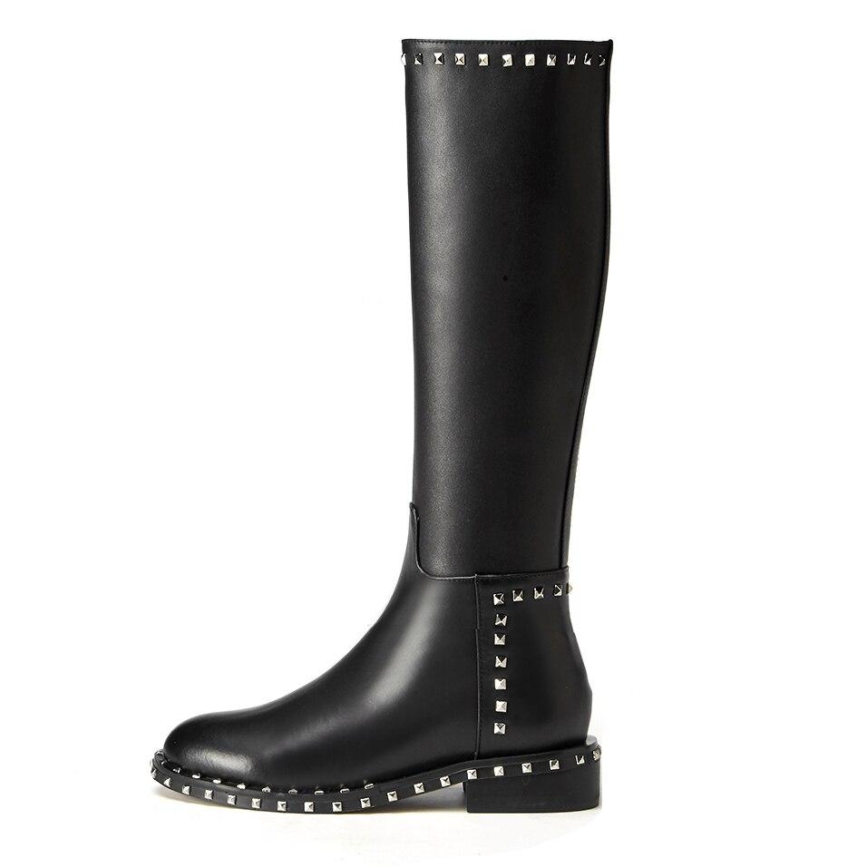 À 2018 Véritable Chaussures Glissière Carré Fermeture Arden De Genou Femme Cuir Black Mode Rivets Bottes Hiver Haute Furtado Talon Femmes En Peluche qXfFFZx56w