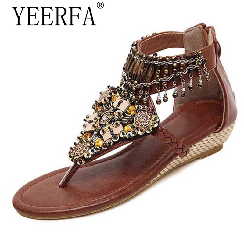 YEERFA Bohemia Gladiator Sandals 2017 Summer Wedges Flip Flops Crystal Platform Flats Tassel Casual Shoes Woman size 35-41 women sandals 2017 summer shoes woman flips flops wedges fashion gladiator fringe platform female slides ladies casual shoes